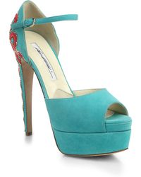 Brian Atwood Simi Embroidered-Heel Suede Platform Sandals - Lyst