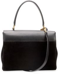 Saint Laurent - Moujik Large Suede Leather Satchel Bag Black - Lyst