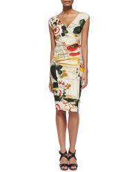 Jean Paul Gaultier Printed Cap-Sleeve Surplice Dress - Lyst
