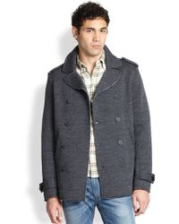 Diesel Double-Breasted Stretch Wool Peacoat - Lyst