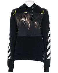 Off White C/o Virgil Abloh Black Cotton Caravaggio Hooded Sweatshirt white - Lyst