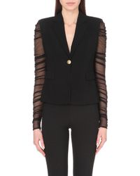 Versace Tulle-Sleeves Blazer - For Women - Lyst