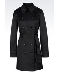 Armani Jeans Double-Breasted Trench In Gabardine - Lyst