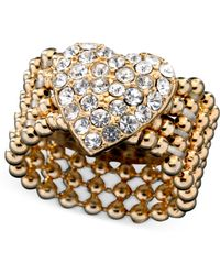 Guess Ring, Gold-Tone Crystal Accent Heart Stretch - Lyst