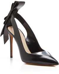 Nicholas Kirkwood Black Leather And Clear Pvc Origami Back Bow Pointed Toe Pump - Lyst
