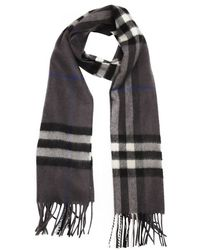 Burberry Grey And Black Check Cashmere Woven Scarf - Lyst