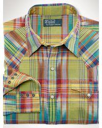 Polo Ralph Lauren Plaid Cotton Western Shirt - Lyst