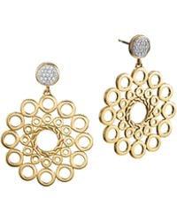 John Hardy Dot 18K Gold & Diamond Drop Earrings - Lyst
