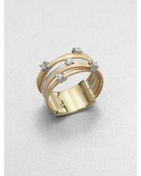 Marco Bicego - Goa Diamond, 18k White, Rose & Yellow Gold Five-strand Ring - Lyst