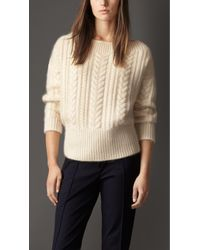 Burberry Cable Knit Wool Mohair Sweater - Lyst