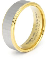 Swiss Legend - Men's Carbide And Gold Tone Tungsten Ip Ring - Lyst