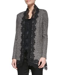 St. John Collection Long Lacetrim Cardigan - Lyst