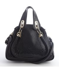 Chloé Black Leather Paraty Small Convertible Top Handle Bag - Lyst