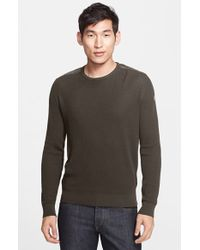 Moncler Cotton Sweater With Channel Quilted Shoulders green - Lyst