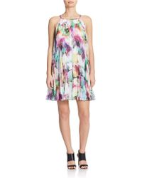 Maggy London - Printed Pleated Trapeze Dress - Lyst