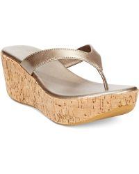 Callisto Beachie Cork Thong Platform Wedge Sandals - Lyst