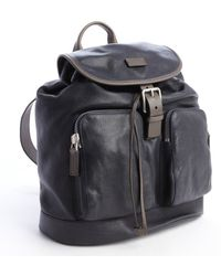 Giorgio Armani Navy Blue Leather Pocket Detail Backpack - Lyst