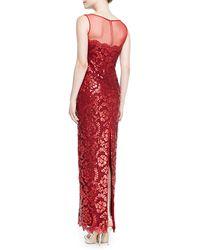 Tadashi Shoji Sleeveless Sequined Lace Overlay Gown - Lyst