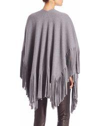 Burberry Prorsum | Fringe-trim Cotton & Cashmere Poncho | Lyst