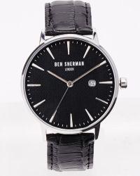 Ben Sherman Black Leather Strap Watch Wb001B - Lyst