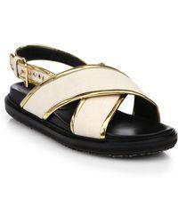 Marni Metallic-Trimmed Leather Criss-Cross Sandals - Lyst