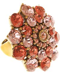 Oscar de la Renta Red Hibiscus Jewelled Ring - Lyst