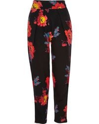 River Island Black Floral Print High Waisted Pants - Lyst