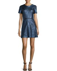 Catherine Deane   Short-sleeve Leather-front Cocktail Dress   Lyst