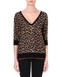 Juicy Couture Cottonblend Print Sweater Natblk Vint Leopard - Lyst