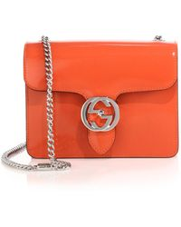Gucci Interlocking Polished Leather Shoulder Bag orange - Lyst