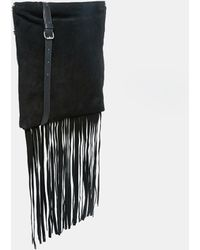 Asos Leather And Suede Festival Fringed Cross Body Bag black - Lyst