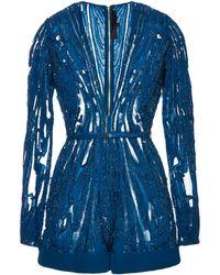 Elie Saab Embroidered Blue Double Silk Georgette Jumper - Lyst