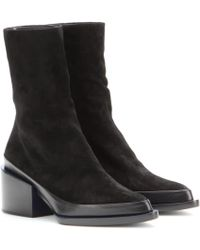 Jil Sander Suede Ankle Boots - Lyst