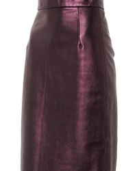 House Of Holland Metallic Leather Pencil Skirt - Lyst