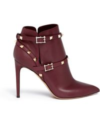 Valentino 'Rockstud' Ankle Harness Leather Boots - Lyst