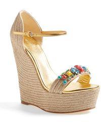 Gucci 'Carolina' Jeweled Wedge Sandal - Lyst