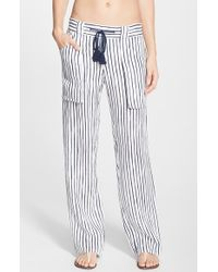 Tory Burch 'Vallauris' Stripe Linen Pants - Lyst