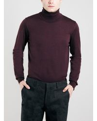 Topman Burgundy 100 Merino Roll Neck Sweater - Lyst