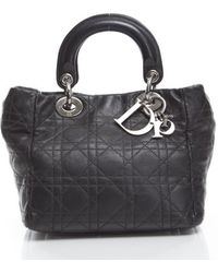 Dior Pre-owned Lambskin Soft Lady Dior Small Shopper - Lyst