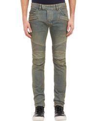 Balmain Blue Biker Jeans - Lyst