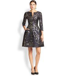 Oscar de la Renta Metallic Brocade Dress - Lyst