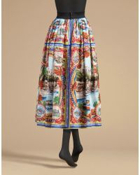 Dolce & Gabbana | Midi Length Circle Skirt In Printed Cotton | Lyst
