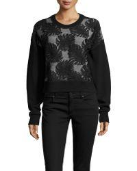 Jason Wu - Cropped Lace Combo Sweatshirt - Lyst