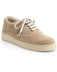 Bottega Veneta Suede Laceup Sneakers - Lyst