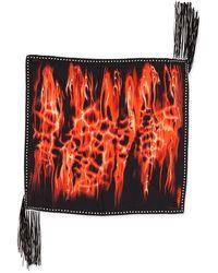 Roberto Cavalli Printed Silk Twill Scarf with Leather Fringe - Lyst