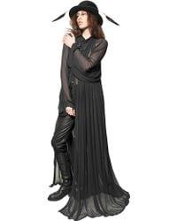 Ann Demeulemeester Pleated Techno Mesh Long Dress - Lyst