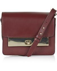 Topshop Womens Premium Plate Shoulder Bag - Oxblood - Lyst