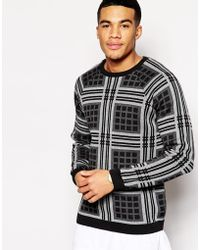 Asos Sweater With Check Design - Lyst