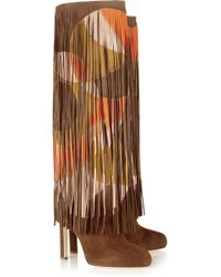 Brian Atwood Lindy Fringed Suede Knee Boots - Lyst