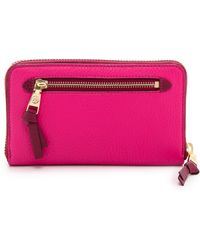 Tory Burch Robinson Pebbled Large Zip Continental Wallet - Carnation Redcabernet - Lyst